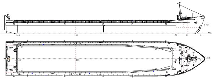Сухогрузная несамоходная баржа грузоподъемностью 4800т. пр.507 АБС, пр.507 АБС/1
