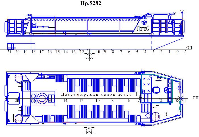 Пассажирское судно для внутренних водоёмов пр. 5282
