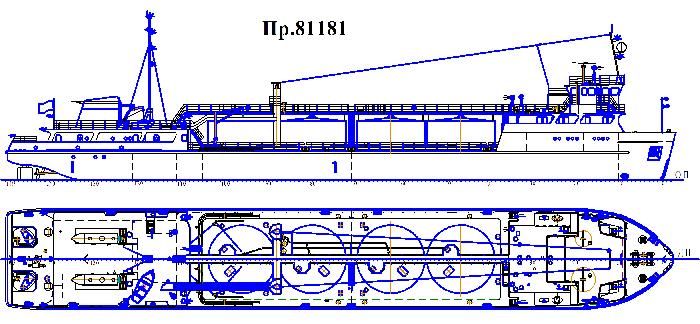 Танкер г/п 1000 т. пр. 81181