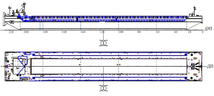 Сухогрузно-наливная несамоходная баржа  грузоподъемностью 4000 т. пр. 81640